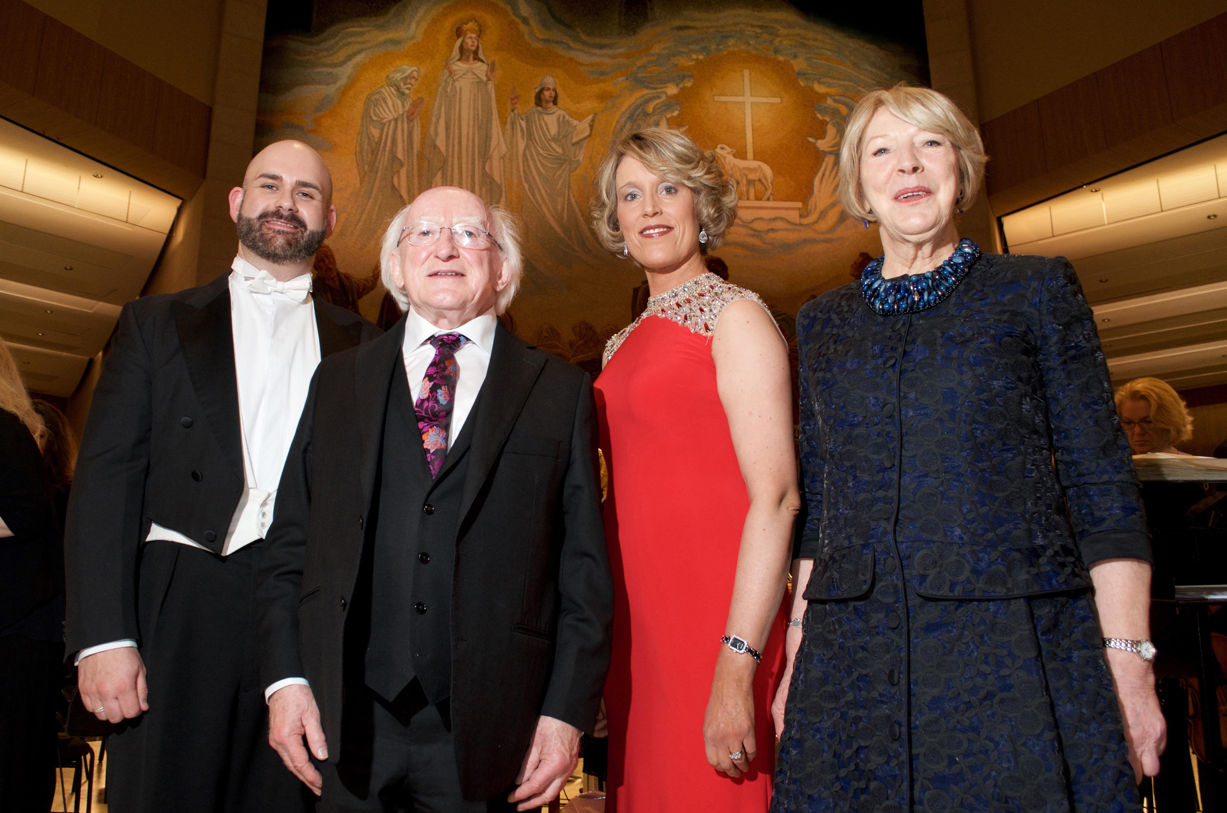 The President of Ireland, Michael D. Higgins and Sabina Higgins at the Concert for Peace, Knock Basilica, Saturday May 14th, pictured with Mezzo Soprano Anne Marie Gibbons and Tenor Owen Gilhooly. The sell-out concert, hosted by the Mayo International Choral Festival, also featured the RTÉ Concert Orchestra and a 120 strong peace choir, under the baton of conductor David Brophy. Photo: Alison Laredo