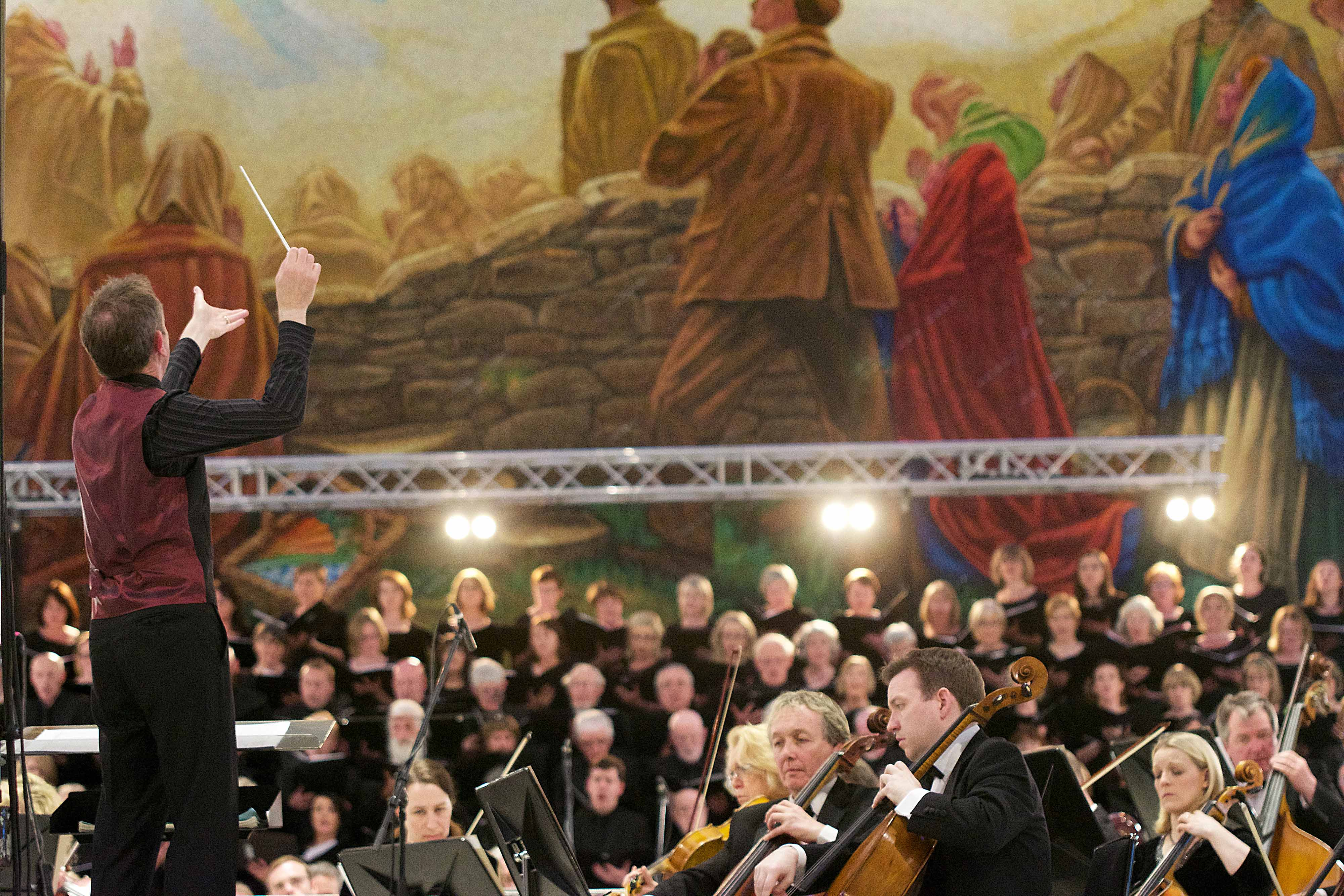 David Brophy conducts the RTÉ Concert Orchestra and the 120-strong Peace Choir at the Concert For Peace, held at Knock Basilica, May 14th. The concert was presented by the Mayo International Choral Festival in association with the Western Development Commission.
