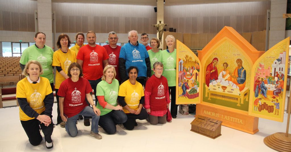 WMOF 2018 Volunteers with the Icon of the Holy Family. Pic John Mc Elroy.