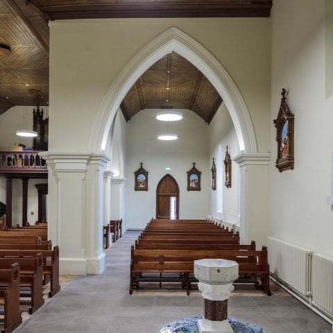 baptismal font and side aisle