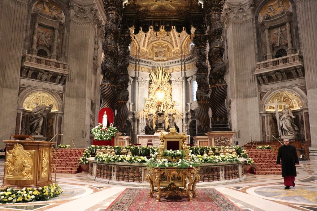 The Pilgrim Statue of Our Lady of Knock at the Papal altar