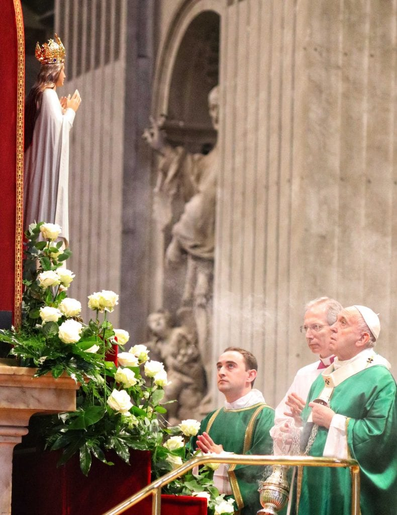 Seminarian Shane Costello and Pope Francis blessing Statue of Our Lady of Knock Cropped